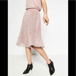 Zara Dusty Rose Metallic Pleated Midi Skirt
